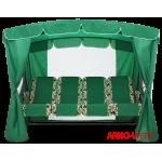 Садовые качели Arno Оазис + Серо-зеленый Зеленая Гретта с вставками Вензеля (по бокам)