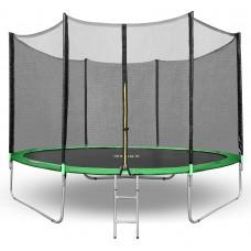 Батут Happy Jump 8ft PRO (252см) с внешней сеткой и лестницей