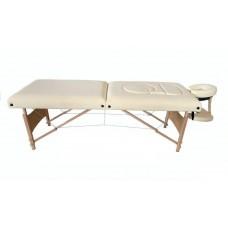 Складной 2-х секционный деревянный массажный стол BodyFit, бежевый (70 см)