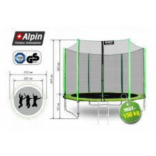Батут Alpin 374 см 12 ft с защитной сеткой и лестницей