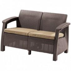 Диван двухместный Corfu Love Sofa коричневый
