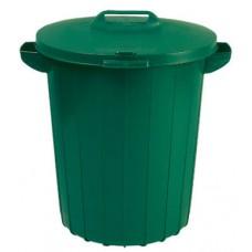 Контейнер пластиковый для мусора зеленый с зеленой крышкой 173554