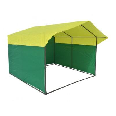 Торговая палатка Домик 3х2 м квадратная труба 20х20 мм тент ПВХ желтый/зеленый