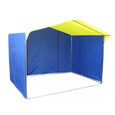 Торговая палатка Домик 3х2 м труба 25 мм тент ПВХ желтый/синий фото