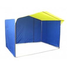 Торговая палатка Домик 2.5х2.0 м квадратная труба 20х20 мм тент ПВХ желтый/синий