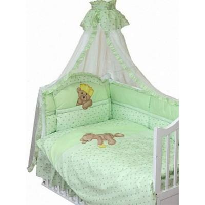 """Детский постельный комплект """"Мишка-Царь"""" 120х60 + подматрасник, 8 предметов фото"""