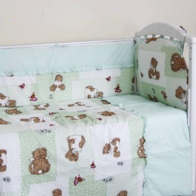 """Детский постельный комплект """"Мишка с подушкой"""" 120х60, 6 предметов фото"""