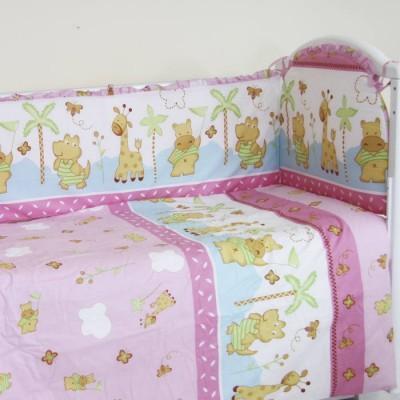 """Детский постельный комплект """"Жирафик и бегемотик"""" 120х60, 6 предметов фото"""