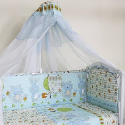 """Детский постельный комплект """"Заяц и кот"""" 120х60, 7 предметов фото"""