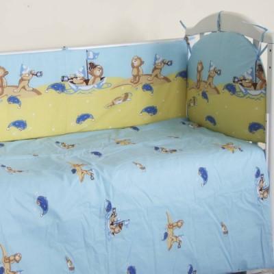 """Детский постельный комплект """"В море"""" 120х60, 6 предметов фото"""