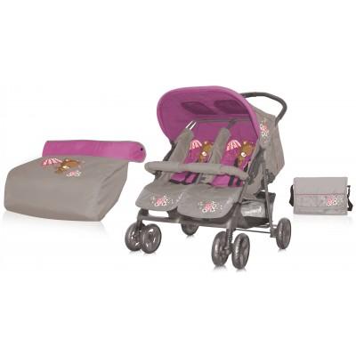 Детская коляска для двойни Bertoni (Lorelli) Twin Grey&Green фото