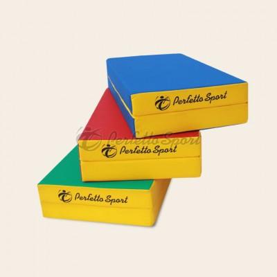 """Мат гимнастический """"PERFETTO SPORT"""" №3 100х100х10, складной синий/жёлтый"""
