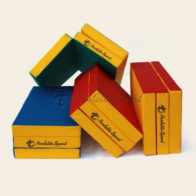 """Мат гимнастический """"PERFETTO SPORT"""" №4 150х100х10, складной синий/жёлтый"""