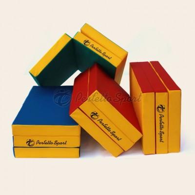 "Мат гимнастический ""PERFETTO SPORT"" №4 150х100х10, складной синий/жёлтый фото"