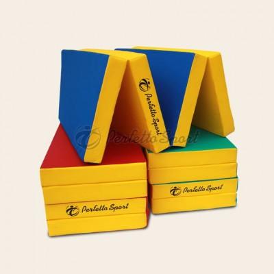"""Мат гимнастический """"PERFETTO SPORT"""" №5 200х100х10 см, складной синий/жёлтый"""