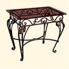 Кованый обеденный стол благополучия со стеклянной столешницей КОВ12