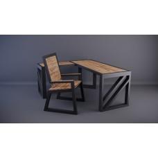 Набор Boss СВ1 (стол угловой 1500х600х750  600х500х750  и стул 450х400х830) (металл + дерев. сосна)