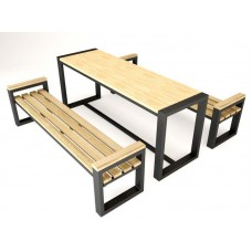 Набор мебели СД1 (в комплекте стол и лавки 2 шт)  (металл + дерев. сосна)