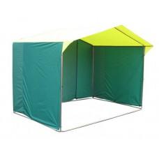 Торговая палатка «ДОМИК» 2.5 X 2 из трубы 25мм зеленый/желтый