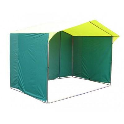 Торговая палатка «ДОМИК» 2.5 X 2 из трубы 25мм зеленый/желтый фото