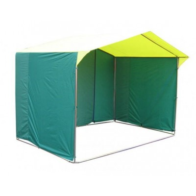 Торговая палатка «ДОМИК» 2.5 X 2 из квадратной трубы 20Х20 мм зеленый/желтый фото