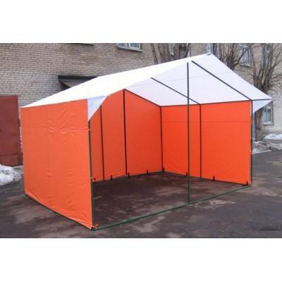Торговая палатка «ДОМИК» 4 Х 3 из квадратной трубы 20Х20 мм оранжевый фото