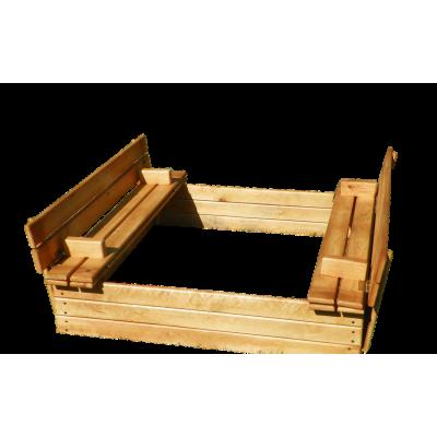 Деревянная песочница с крышкой 120*120 см фото