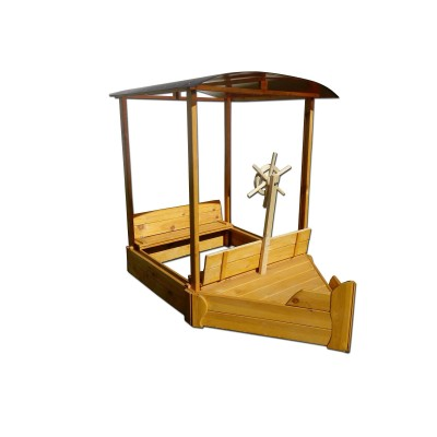 Песочница из дерева «Кораблик» 150х120х180
