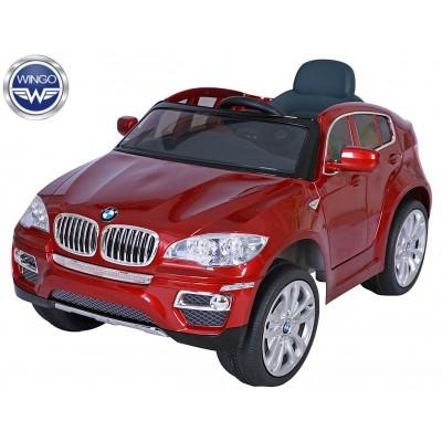 Детский электромобиль Wingo BMW Х6 LUX (Лицензия) бордовый лакированный фото