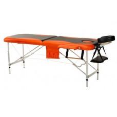 Складной 2-х секционный алюминиевый массажный стол BodyFit, черно-оранжевый
