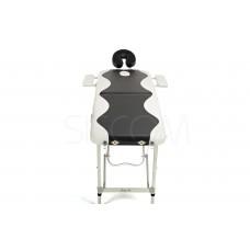 Складной 2-х секционный алюминиевый массажный стол BodyFit, черно-белый