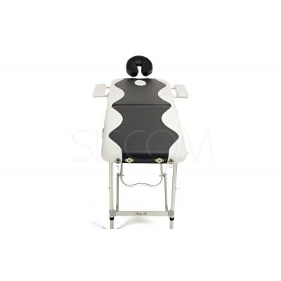 Складной 2-х секционный алюминиевый массажный стол BodyFit, черно-белый фото