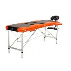 Складной 3-х секционный алюминиевый массажный стол BodyFit, черно-оранжевый