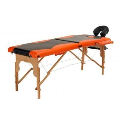 Складной 2-х секционный деревянный массажный стол BodyFit, черно-оранжевый