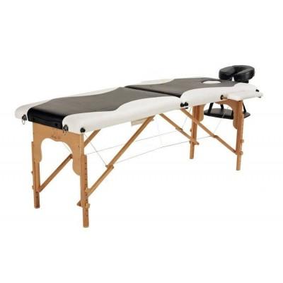 Складной 2-х секционный деревянный массажный стол BodyFit, черно-белый