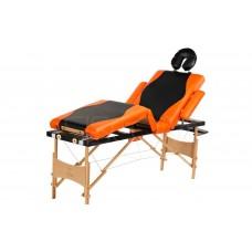 Складной 4-х секционный деревянный массажный стол BodyFit, чёрно-оранжевый