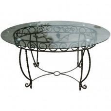 Кованый обеденный стол благополучия со стеклянной столешницей КОВ1