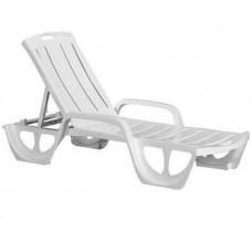 Пластиковый лежак, шезлонг (190x69x30 см) FLORIDA, белый
