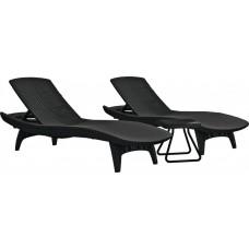 Набор шезлонгов Keter Pacific Set (2 шезлонга + столик), графит