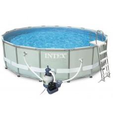 Каркасный бассейн Intex Ultra Frame 26324 488х122см + песочный фильтр-насос, лестница, тент, подстилка