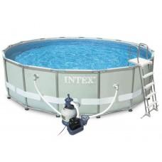 Каркасный бассейн Intex Ultra Frame 26332 549х132см + песочный фильтр-насос, лестница, тент, подстилка
