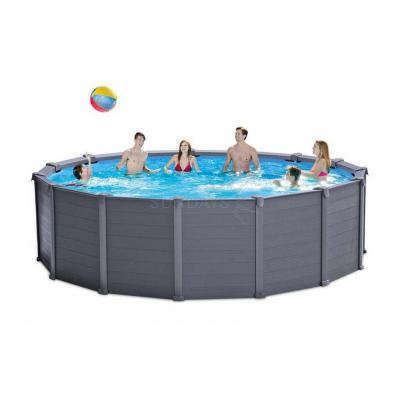 Каркасный бассейн Intex GRAPHITE GRAY PANEL 26382 478х124см + песочный фильтр-насос, лестница, тент, подстилка