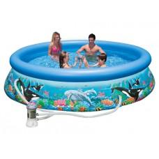 Бассейн с комплектом 305х76 см, Easy Set Риф океана, Intex 28126/54902