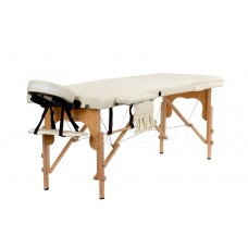 Складной 3-х секционный деревянный массажный стол BodyFit, бежевый