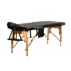 Складной 3-х секционный деревянный массажный стол BodyFit, черный