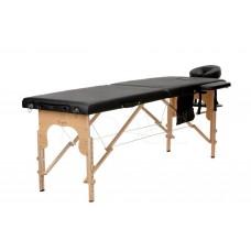 Складной 2-х секционный деревянный массажный стол BodyFit, черный