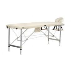 Складной 2-х секционный алюминиевый массажный стол BodyFit, бежевый