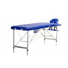Складной 2-х секционный алюминиевый массажный стол BodyFit, синий