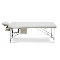 Складной 2-х секционый алюминиевый массажный стол BodyFit, бежевый XXL