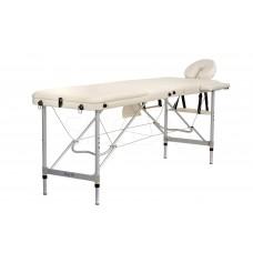 Складной 3-х секционный алюминиевый массажный стол BodyFit, бежевый